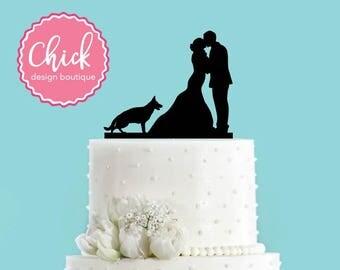 Couple Kissing with German Shepherd Dog Standing Acrylic Wedding Cake Topper