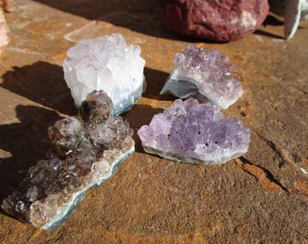 Four Amethyst Crystal Clusters~Brown and Gold Rutile~Druzy~Jewelry Supply~Sobriety~Calmness~#3