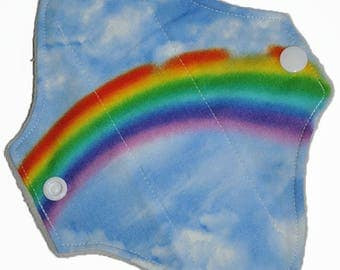 Liner Core- Rainbow Clouds Reusable Cloth Petite Pad- WindPro Fleece- 6.5 Inches