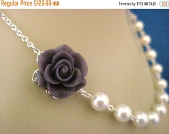 ON SALE Bridal Jewelry Set of 6 Deep Plum Rose and Pearl Bridesmaid Necklaces