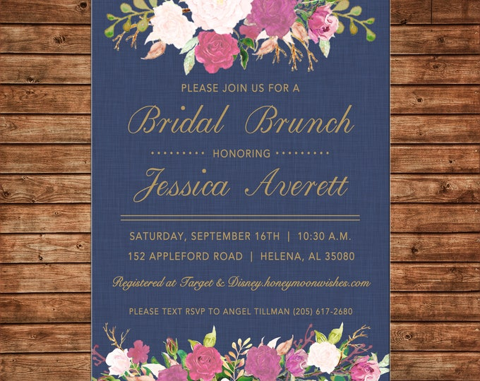 Wedding Bridal Birthday Bride Groom Shower Tea Brunch Watercolor Flowers Floral Invitation - DIGITAL FILE