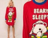 Nightgown Pajama Dress Teddy Bear BEARY SLEEPY Dress Nightie 90s Graphic Retro Tshirt 1991 Red Kawaii Mini Ringer Small Medium Large