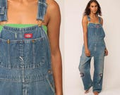 Dickies Overalls 90s Denim Bib Overalls Baggy Dungarees DISTRESSED Long Jean Pants Grunge Pants Suspender Hipster Carpenter Large