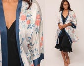 Floral Kimono Robe Jacket Bohemian Lingerie 70s Boho Hippie Boho Dressing Gown 1970s Vintage Silky White Blue Small Medium Large