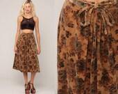 Bohemian Skirt VELVET Skirt 70s Boho FLORAL Print Midi High Waisted Vintage 1970s Hippie Festival Drape Tan Small