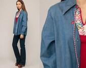 Denim Shirt 70s Blue Jean Button Up Denim Boyfriend Shirt Boho 1970s Long Sleeve Vintage Hipster Boho Normcore Retro Large