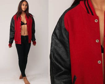 Wool Varsity Jacket LEATHER Baseball Jacket Bomber Jacket 80s Coat Letterman Red Black Sports Hipster 1980s Vintage Large