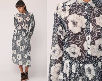 Cotton Floral Dress Button Up 70s Boho SHEER Midi Bohemian Vintage High Waisted Long Sleeve Shirtwaist Secretary Navy Blue Medium Large