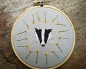 Badger and Dandelion Embroidery Hoop