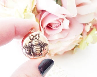 Rose Gold Plated Bee Locket - Bumble Bee Locket - Bumblebee - Rose Gold Round Locket - Gold Bee Locket - Woodland - Flying Insect Locket