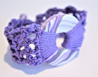 Purple and White Swirl Polymer Clay Crochet Pendant