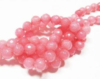 20% OFF LOOSE Gemstone Beads - Jade Beads - Faceted 6mm Rounds - Blush Pink (10 beads) - gem1013