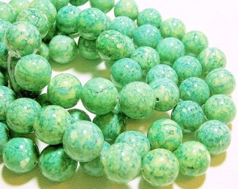 20% OFF LOOSE Gemstone Beads - Reconstituted Riverstone Beads - 12mm Rounds - Marbled Bright Green (6 beads) - gem969