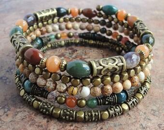 Jasper Stone Beaded Bangle, Wrap Around Memory Wire Bracelet, Earthy Tone Jewelry, Fall Autumn Colors, Antique Brass,
