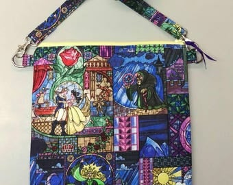 Beauty and the Beast stained glass fabric purse messenger bag with adjustable strap