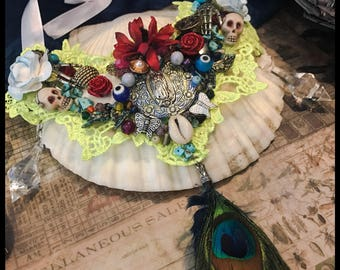 Guadalupe Prayer for the Dead lace collar necklace
