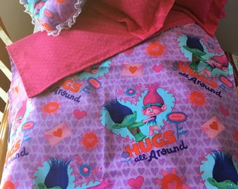 Handmade Trolls bedding for your American Girl doll or any 18 inch doll