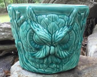 Owl, planter, garden, jade, green, retro, house plant, pot, ceramic, handmade, house plant
