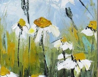 An Echo Of Perfume: Figurative oil painting with a knife on linen canvas flowers daisies ...