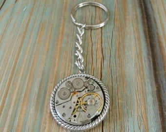 Key Chain Watch Vintage Parts, Steampunk Key Ring, Groomsmen Present, Unique Gifts for Husband Anniversary Birthday, Purse Zipper Pull