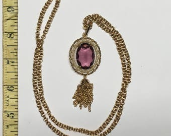Vintage Avon Necklace with Purple Stone/Vintage Avon Necklace/Vintage Purple Avon/Vintage Avon Jewelry/Vintage/Avon/Necklace/Tassel