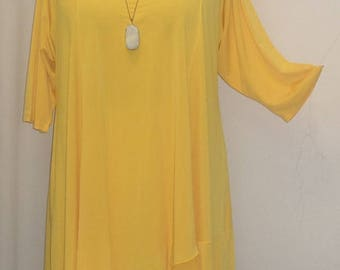 Coco and Juan, Lagenlook, Plus Size Tunic Top, Asymmetrical Top, Yellow, Knit, Women's Tunic Top, Size 2 (fits 3X,4X)  Bust 60 inches