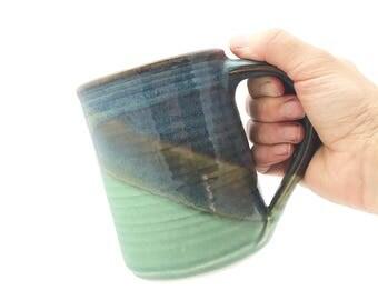 Large Handmade Mug Blue Green --  Twilight Olive Handthrown Stoneware Mug -- Large Blue Ceramic Green Handmade Mug