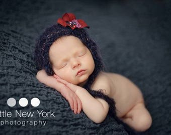 Dark Newborn Mohair Bonnet Hand Knit Almost Black Photo Prop Baby Shower Gift Going Home Outfit Purple Cap Photography Infant Knitted Hat