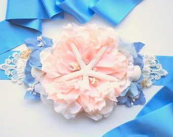 Peach Blue Beach Weddings Bridal Sash Belt, Nautical Hawaiian Mermaid Wedding Sash, Bridal Blue Peach Seashells Sash, Starfish Bridal Sash