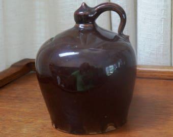 Vintage Jug Bank Stoneware Handled Pottery Savings Jar Clay Brown Early American