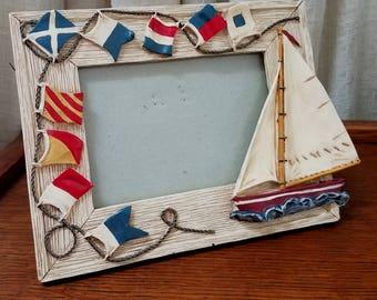 Vintage Nautical Picture Frame Ship Frame Signal Flag Frame Sail Boat Frame Coastal Decor Lake House