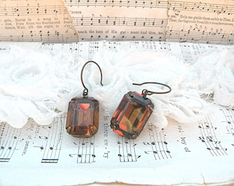 glass jewel earrings brown fall dangles rhinestone Swarovski classic dangles rootbeer color stones cottage chic