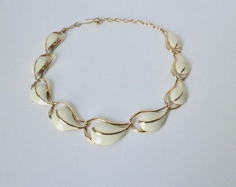Vintage Gold tone with Cream Enameled TRIFARI  Necklace.