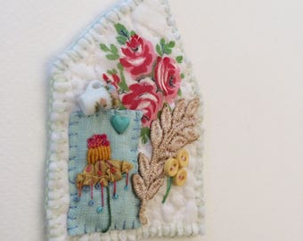 OOAK Handstitched Mixed Media English Cottage Brooch with miniature cup