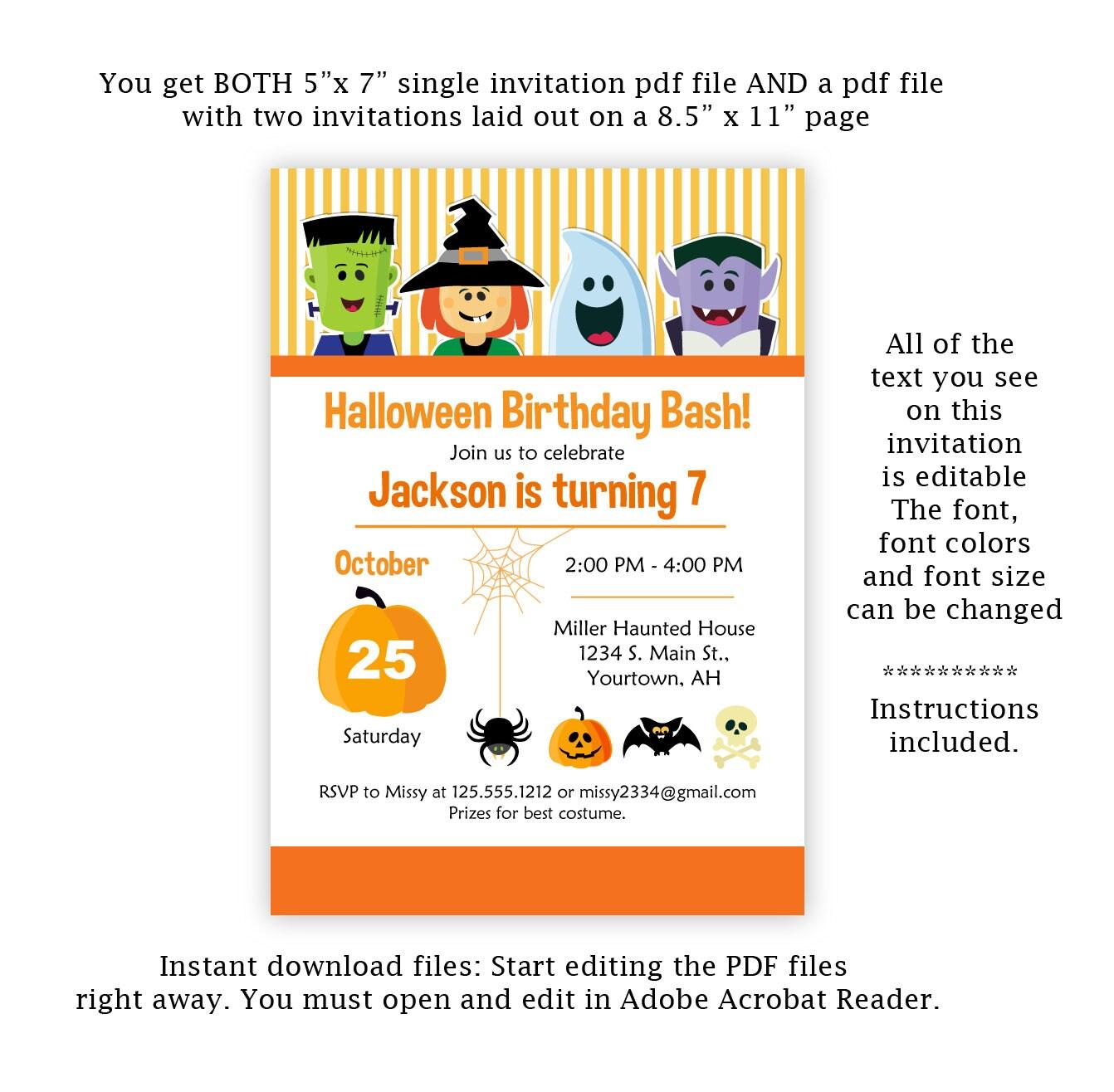 Halloween Birthday Party Invitation Digital Edit Now Halloween