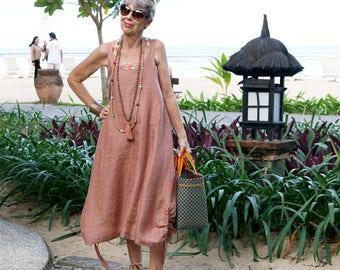 LINEN, Slip Dress 2, Summer Dress, Beach Dress, Resort Wear, Coverup, Island Style, Bohemian, 3 Sizes