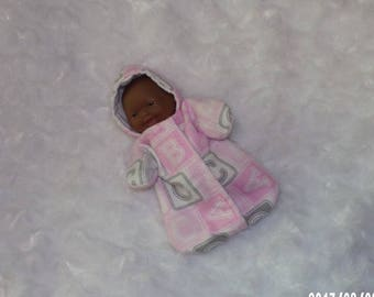5-LITTLEHEAD-HS-60) 5 inch Lil Cutesies Berenguer baby doll clothes (little head) 1 flannel hooded sleeper with panties