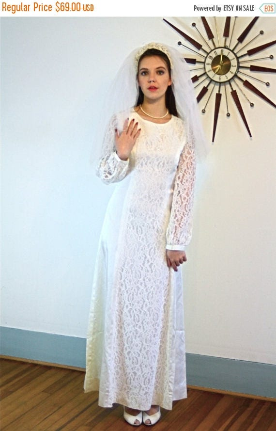 SALE 50% OFF Vintage Simple 70s Wedding Dress White Lace and Satin Paneled Long Sleeve High Boatneck Modest Ankle Floor Length Fitted 1970s