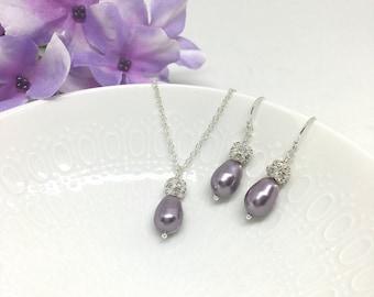 Light Purple Bridesmaid Jewelry Set Mauve Light Purple Bridesmaid Jewelry Mauve Wedding Rachel