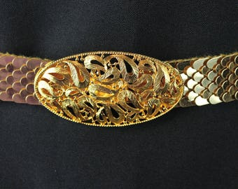 Metal Stretch Belt M L Vintage 80s Gold Snake Fish Scale Oval Filigree Buckle Free US Shipping