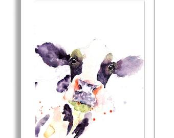 Cow art, LIMITED edition print of my DAIRY COW wall art, home decor, nursery art, wildlife .  hand signed, illustration,  animal art