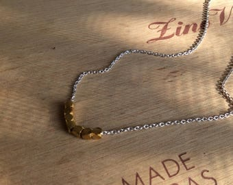 Two Tone Nugget Necklace Sterling Silver and Gold Vermeil Nugget Necklace with Sterling Silver Chain Bridesmaid Gift