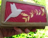 Gift for MOM, Hummingbird Cell phone Wallet, Women's Cell Phone Wallet, Vegan Cell Phone Bird Clutch, Ultra Suede, I D Pocket, Eco Friendly