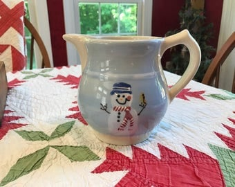 Hartstone Christmas Snowman Pottery Stoneware Holiday Pitcher - used for Display during the Winter Season