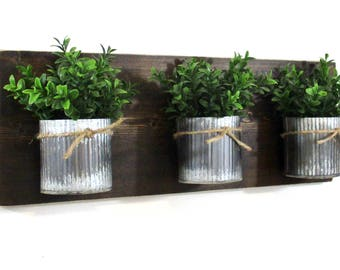Industrial Farmhouse Wall Decor.. 3 Zinc Corrugated Metal Pots on Stained Board..Office/Bathroom Wall Organizer Hanging Metal Pots.