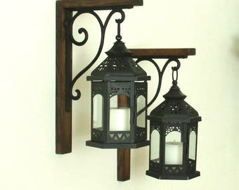Set of 2 Large Hanging Black Lanterns Rustic Farmhouse Wood Wall Decor...... Candle Sconce...Lantern Scones...Rustic Home Decor