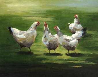 Sunny Chickens - Paper print of an original painting by Cari Humphry