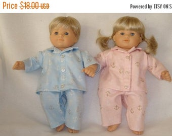 "ON SALE 15 Inch Doll Clothes/Pajamas/4 piece set made to fit 15"" Bitty Baby Twin Dolls/READY To Ship"