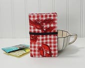 Tea wallet - Lobster tea wallet -tea caddie - Travel tea bag case wallet for teabags - 4 pockets - red lobster - tea party favor