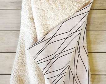 Fleece Sherpa Throw Blanket // Modern Home Decor // Dorm Decor // Modern Geometric // Fuge Stone Design // Cozy Blanket // Beige // Minimal